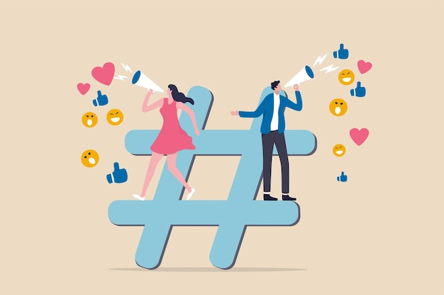 Marketing w mediach społecznościowych, cyfrowa kampania reklamowa online, obserwujący hashtag lub koncepcja strategii społecznej, zespół reklamowy marketerów ogłasza promocję na znaku hashtagu z opiniami społecznościowymi.