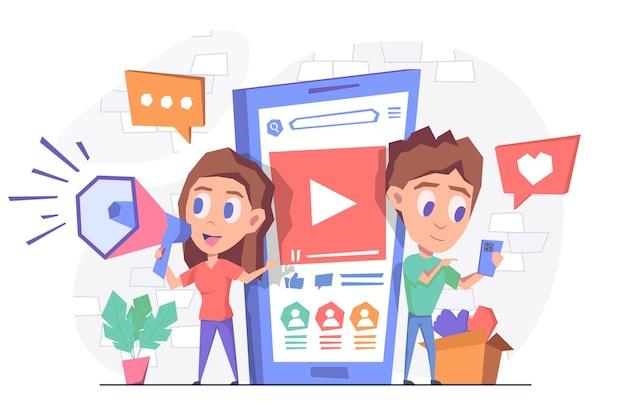 Marketing w mediach społecznościowych kobieta z rogiem stoi przy telefonie mężczyzna trzyma smartfon