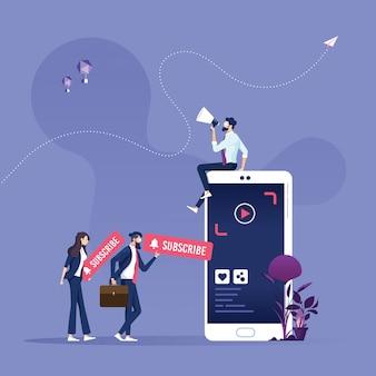 Marketing wideo i subskrypcja ilustracji