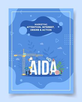 Marketing, zainteresowanie, zainteresowanie, pragnienie, działanie, ludzie, wokół, słowo, aida głośnik, plan docelowy reklamy dla szablonu