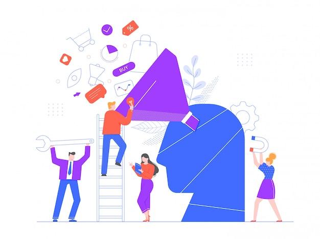 Marketing zorientowany na kupującego. ilustracja strategii marketingowej, profesjonalnego zespołu marketingowego i wzrostu rynku generującego lub przyciągającego nowych lojalnych klientów. model optymalizacji sprzedaży, targetowanie do klientów