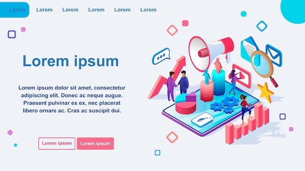 Marketingowa internetowa izometryczna wektorowa strona internetowa