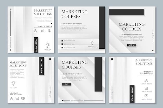 Marketingowa kolekcja postów biznesowych na instagramie