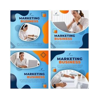Marketingowa kolekcja postów na instagramie biznesowym