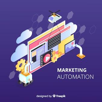 Marketingowe automatyzacja płaskie tło