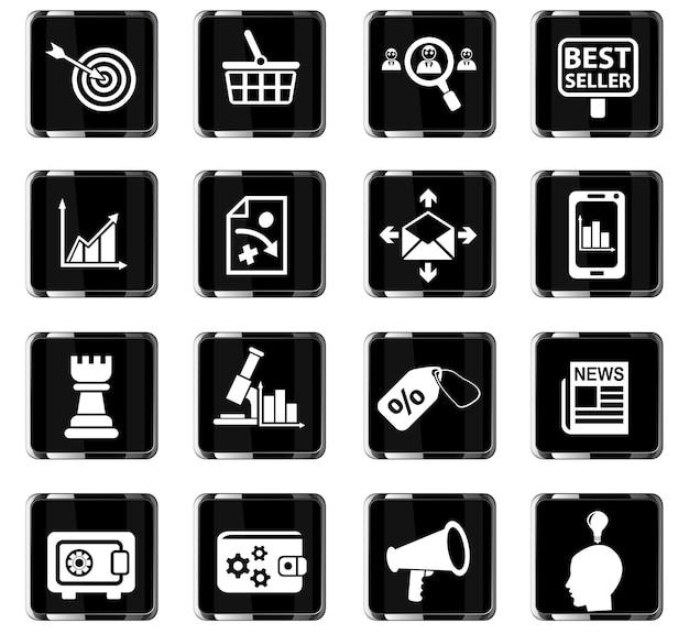 Marketingowe ikony internetowe do projektowania interfejsu użytkownika