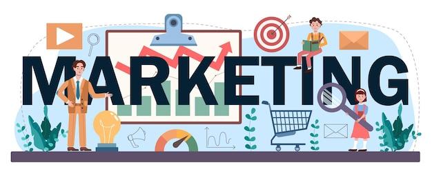 Marketingowy nagłówek typograficzny. promocja biznesu i klient