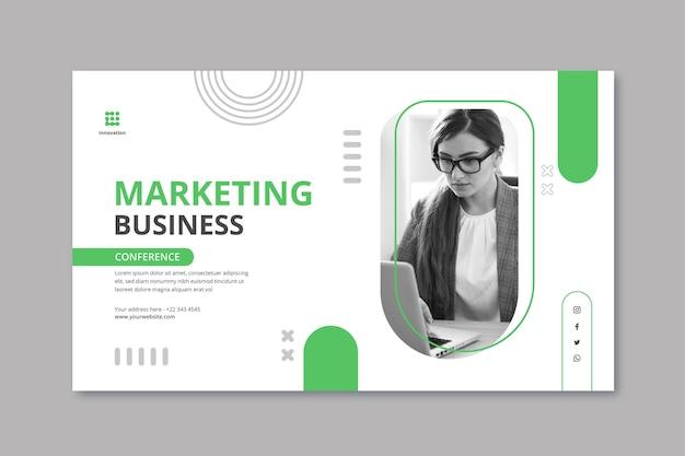 Marketingowy szablon poziomego banera biznesowego