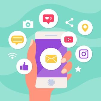Marketingowy telefon komórkowy z ikonami aplikacji