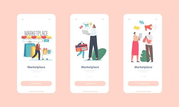 Marketplace retail business mobile app strona na pokładzie szablon ekranu. małe postacie użyj aplikacji na smartfony digital shop lub przeglądarki na komputerze. koncepcja platformy zakupów online. ilustracja wektorowa kreskówka ludzie