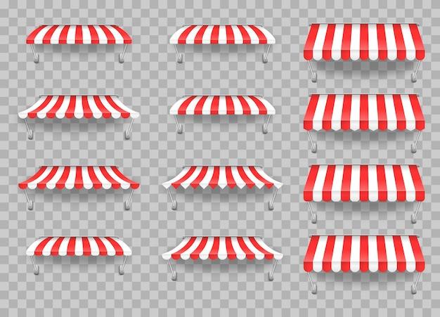 Markiza parasolowa na rynek, letnia muszelka w paski dla ilustracji sklepu