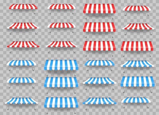 Markiza parasolowa na rynek, letnia muszelka w paski dla ilustracji wektorowych sklepu