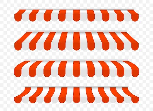Markiza z baldachimem o różnych kształtach na plakat, baner, reklama. namiot przeciwsłoneczny na rynek