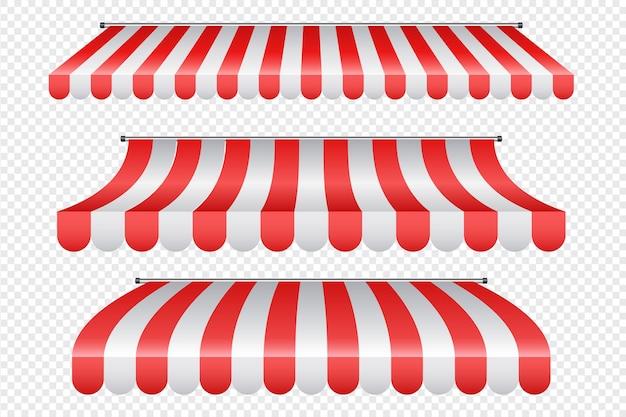Markizy zewnętrzne do kawiarni i witryny sklepowej na białym tle zestaw