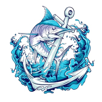 Marlin ryba z kotwicową ilustracją