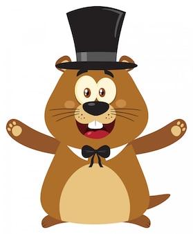 Marmot kreskówka maskotka otwarte ramiona w dzień świstaka