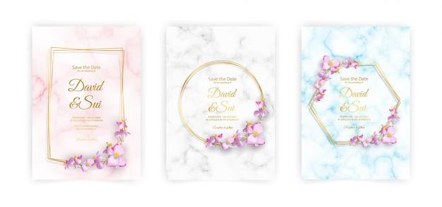 Marmur formatu a4, złota rama i kwiaty