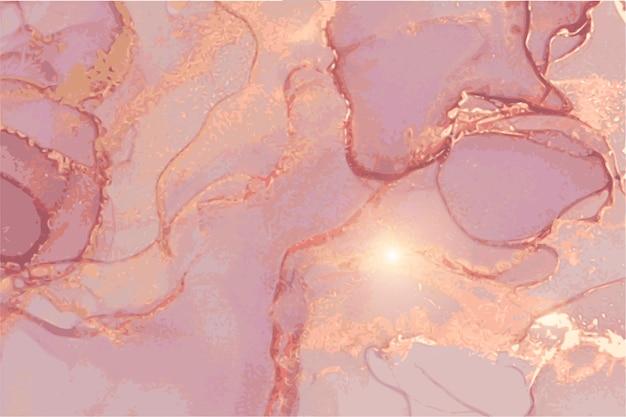 Marmur różowy, fioletowy, złoty kamień tekstury. orientalna technika tuszu alkoholowego.
