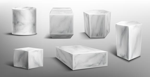 Marmurowe cokoły lub podium, abstrakcyjne geometryczne puste sceny muzealne, kamienne eksponaty na ceremonię wręczenia nagród lub prezentację produktu. platforma galerii, puste stojaki na produkty, realistyczny zestaw 3d