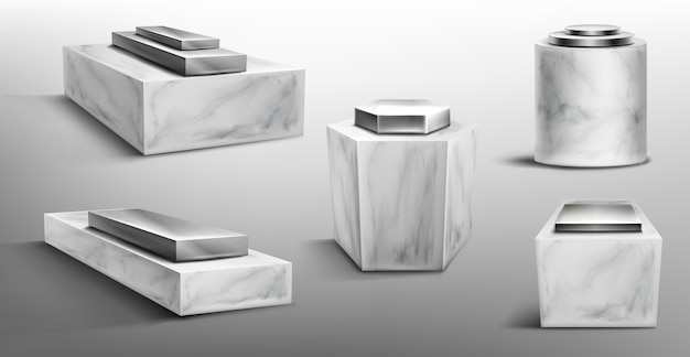 Marmurowe cokoły z metalową platformą na górze do wyświetlania produktu