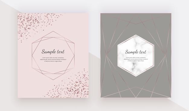 Marmurowe karty z geometrycznymi wielokątnymi liniami w kolorze różowego złota, konfetti.