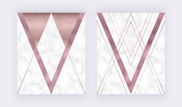 Marmurowy geometryczny wzór z różową i szarą trójkątną, fakturą różowego złota folią, wielokątne linie