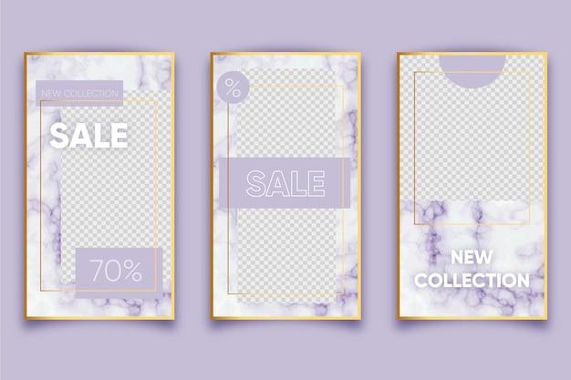 Marmurowy styl do sprzedaży produktów w kolekcji opowiadań w mediach społecznościowych