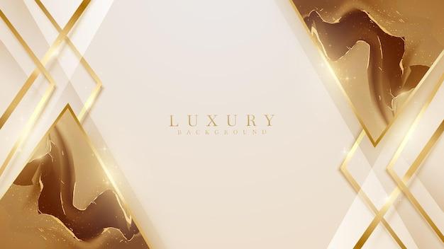 Marmurowy trójkąt z brokatowym złotym elementem linii. koncepcja projektu tło luksus streszczenie styl. realistyczne 3d ilustracji wektorowych.