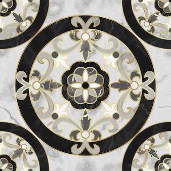 Marmurowy wzór z kwiatowym medalionem powtórz kompozycję marmurkową ze złotymi elementami