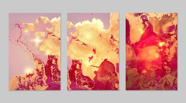 Marmurowy zestaw abstrakcyjnych tła w kolorze fuksji, czerwieni i złota z brokatem w technice atramentu alkoholowego