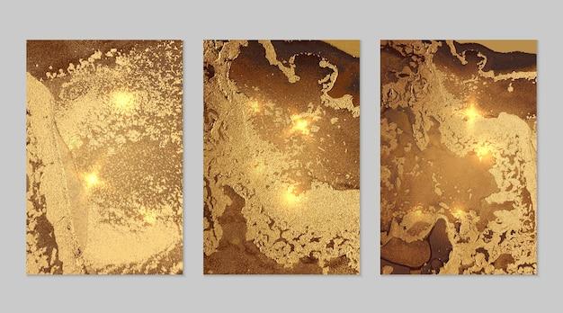 Marmurowy zestaw brązowego i złotego tła fortuna z teksturą. wzór geody