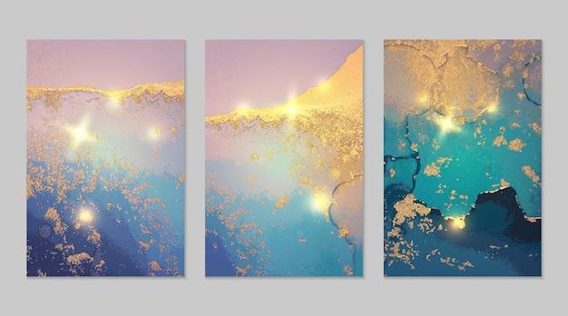 Marmurowy zestaw ciemnoniebieskich i złotych abstrakcyjnych tła z brokatem w technice atramentu alkoholowego