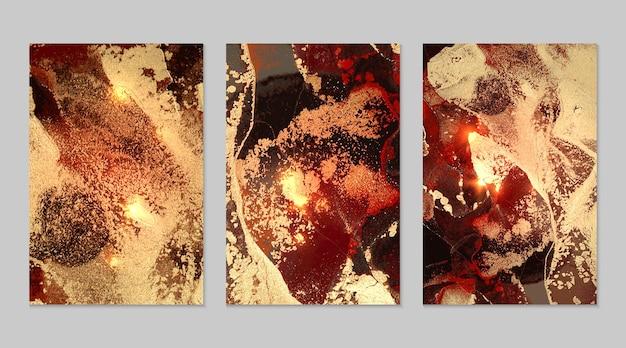 Marmurowy zestaw czerwonych, czarnych i złotych abstrakcyjnych tła z brokatem w technice atramentu alkoholowego