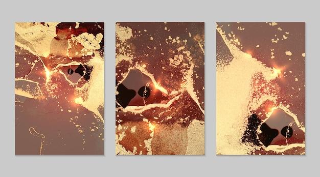 Marmurowy zestaw czerwonych, szarych i złotych abstrakcyjnych tła z brokatem w technice atramentu alkoholowego