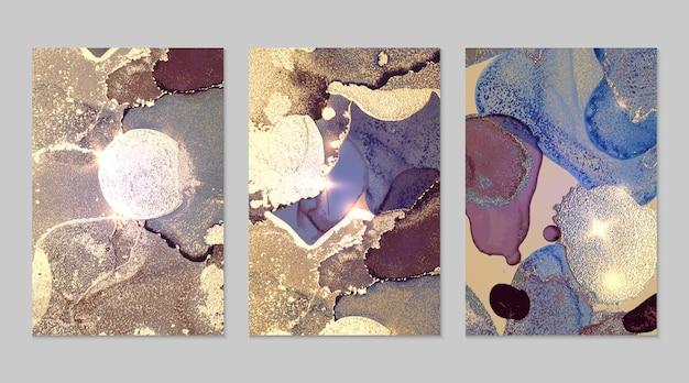 Marmurowy zestaw fioletowych i złotych abstrakcyjnych tła z brokatem w technice atramentu alkoholowego