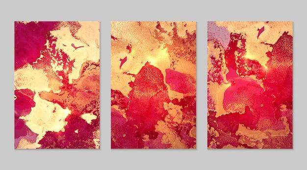 Marmurowy zestaw fuksji i złote abstrakcyjne tła z brokatem w technice atramentu alkoholowego