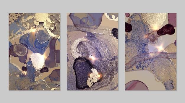 Marmurowy zestaw złotego, fioletowego i szarego tła z teksturą