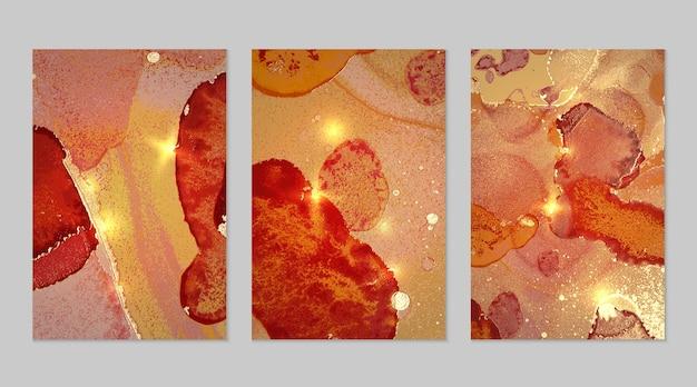 Marmurowy zestaw złotego, różowego i pomarańczowego tła z teksturą