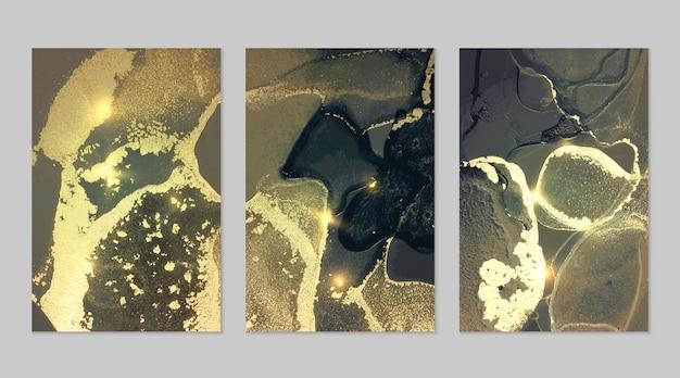 Marmurowy zestaw złotego, turkusowego i ciemnoniebieskiego tła z teksturą