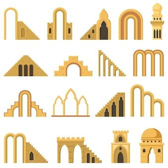 Marokańskie współczesne abstrakcyjne elementy geometryczne architektury łuku. nowoczesne estetyczne schody, ściany, elementy łukowe wektor zestaw ilustracji. modne symbole architektury, wejście z kolumnami