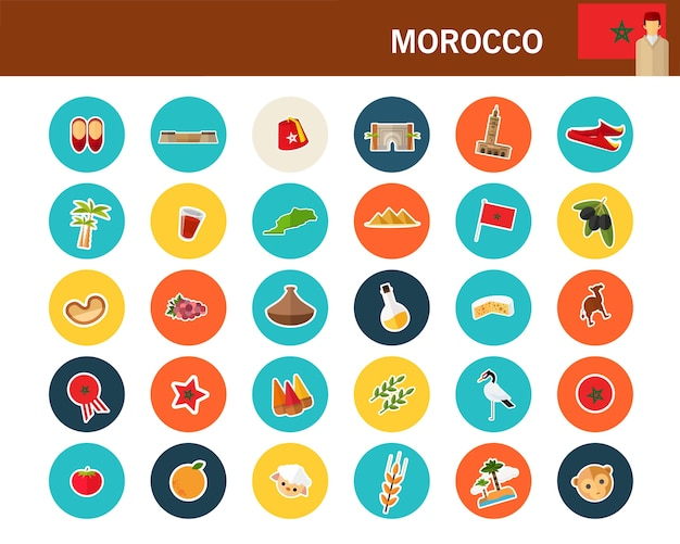 Maroko koncepcja płaskie ikony