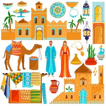 Maroko podróży miejsce przeznaczenia w afryce, narodowa kultura i tradycje, ikony, ilustracja