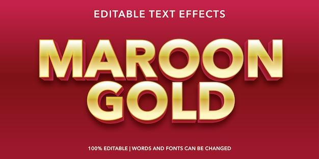 Maroon gold text 3d style edytowalny efekt tekstu