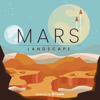 Mars tło krajobraz z płaska konstrukcja