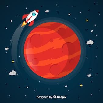 Mars w tle ze statkiem kosmicznym