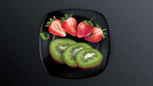 Martwa natura z jagodami: kiwi i truskawki.