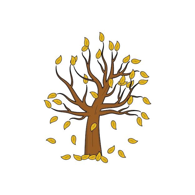 Martwe bezlistne drzewo ręcznie rysowane szablon projektu ilustracji na białym tle