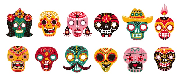 Martwe czaszki. meksykański cukier ludzka głowa kości halloween tatuaż dia de los muertos wektor zestaw