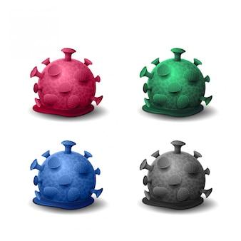 Martwe wirusy koronawirusy, wirusy stopione, zestaw ikon 3d z martwymi bakteriami koronawirusa na białym tle