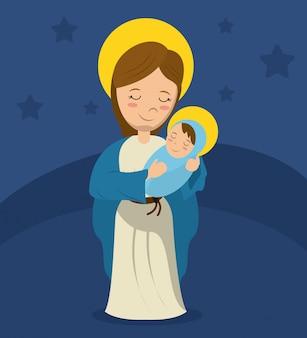 Maryja dziewica i dziecko jezus niebieskie tło